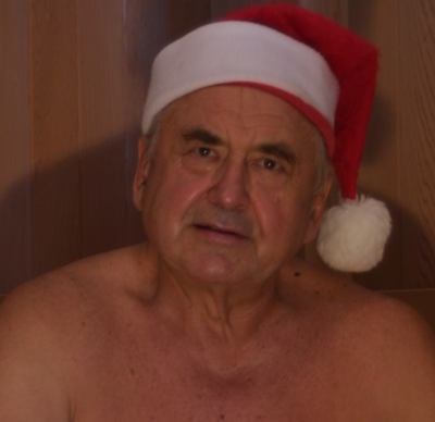 Tony Brechkow in a santa hat