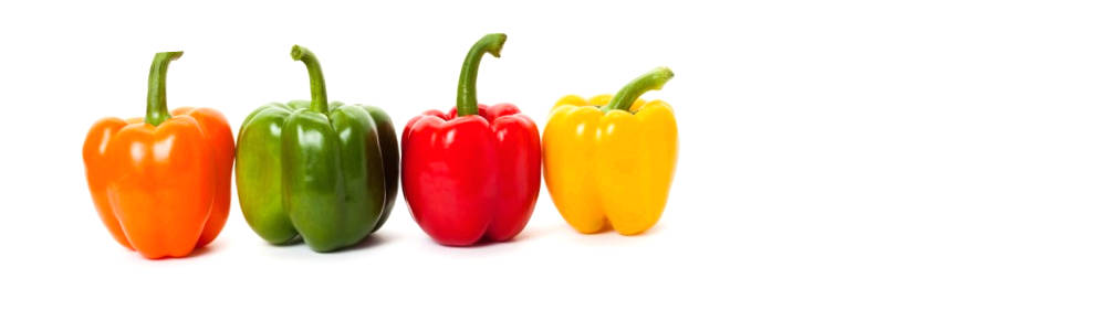 red, organge, yellow and green bell-peppers