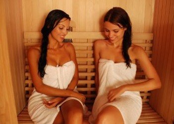 Two women in a sauna
